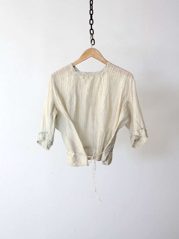 1900s blouse, antique blue silk top