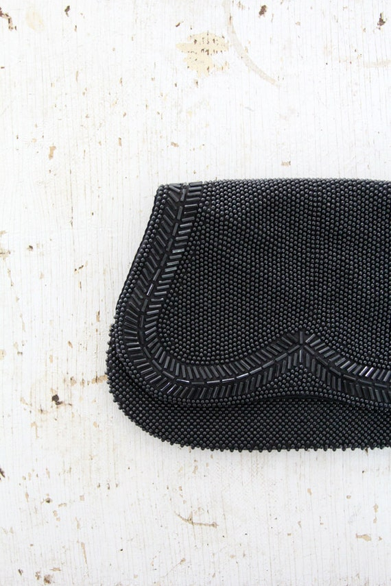 Black Clutch / 1980s Beaded Handbag