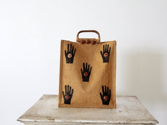 Vintage 80s Jute Tote Bag / Hand to Heart