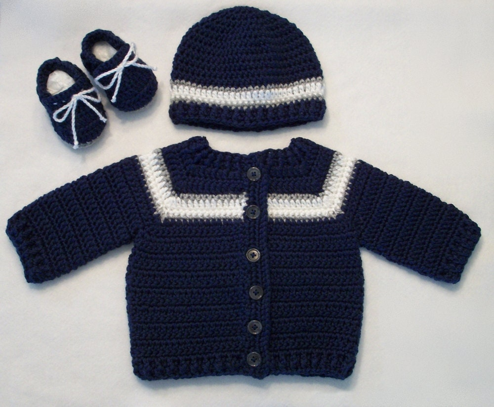 Crocheted Sporty Baby Boy Sweater Hat Booties Set In Navy W