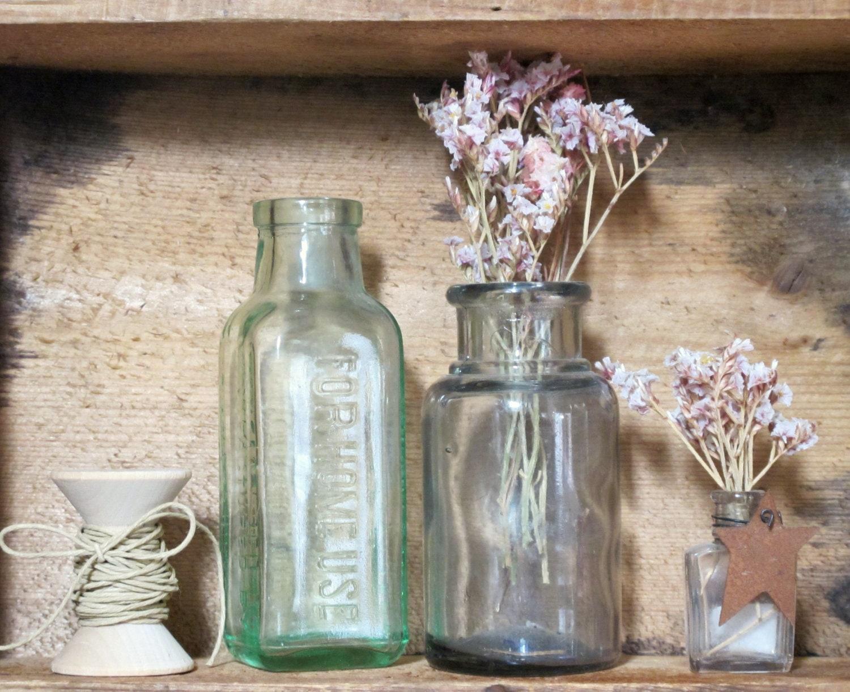 Antique Glass Pharmacy Bottles Wedding Vases Set Of 2