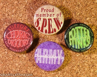 HP Phrase Collection: S.P.E.W. D.A. Support Cedric Diggory Potter Stinks Pin-back Button Set