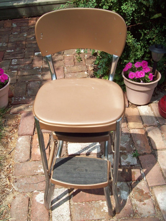 Vintage Metal Step Stool Chair By Thevrose On Etsy