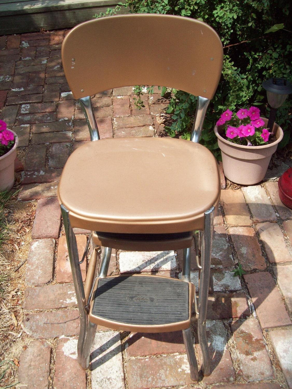 Vintage Metal Step Stool Chair