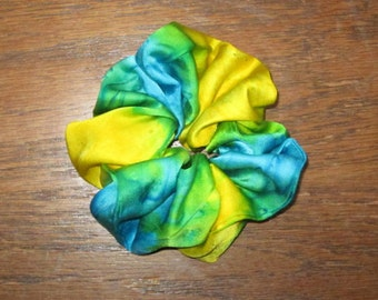 Turquoise Blue and Lemon Yellow Silk Satin Scrunchie