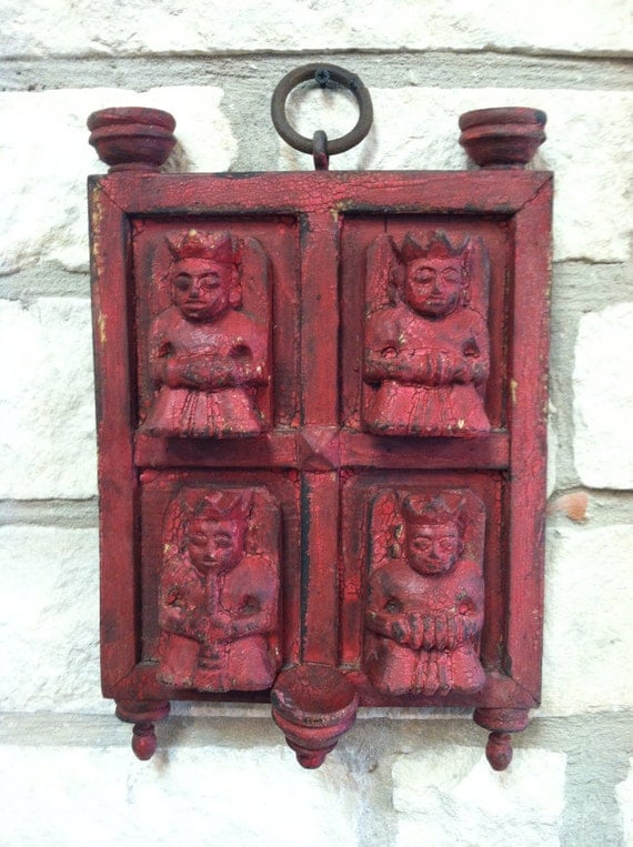 Carved Wooden Panel From India