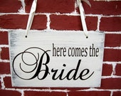 "10"" x 16"" Wooden Wedding Sign:  Double Sided  here comes the bride & and they lived happily ever after"