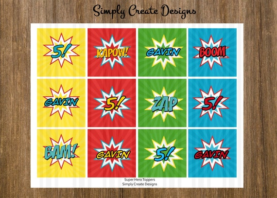 Super Hero Cupcake Toppers Digital File 8.5x11 JPEG or PDF File Personalized
