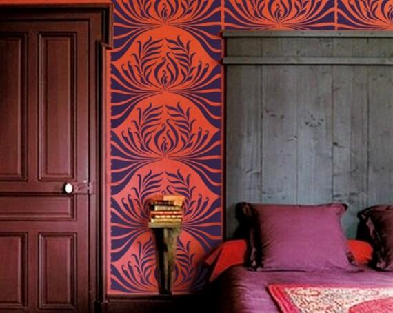 Stencil for Walls - Art Nouveau Leaf Pattern - Large, allover stencil for DIY Home Decor