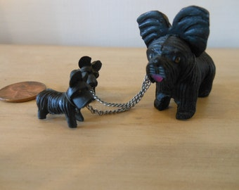Vintage Cute and Tiny Black Scotty Dogs with leash chain