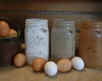 Farm Fresh Eggs collection of painted mason. mason jar collection, table decor, party decor, rustic decor, painted jars