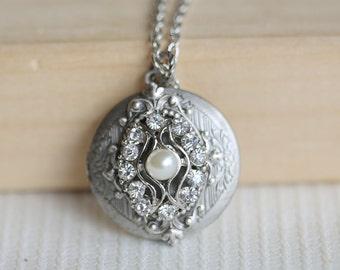 Locket, Silver Locket, Locket,Jewelry Gift, Pendant,Rhinestone Locket,filigree locket necklac,Wedding Necklace,bridesmaid necklace