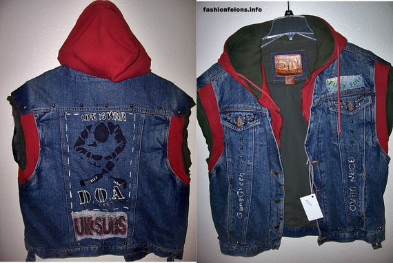 Punk Sweater Vest Denim Hoodie Vest Punk