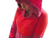 Orange and Red Fiery Pixie Hooded Sweater