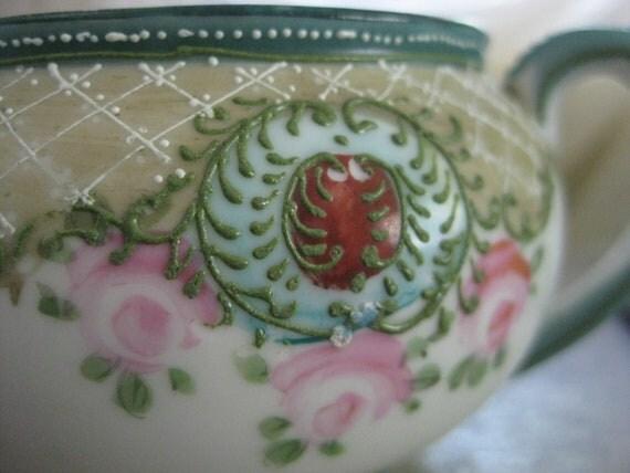 Stunning Hand Painted Nippon Handled Sugar Bowl Deep Green Floral Dots