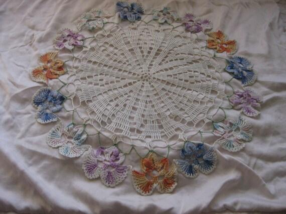 FABULOUS Large Vintage Crochet Doily Table Linen Colored Flowers