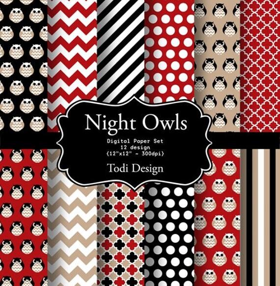 Night Owls- INSTANT DOWNLOAD Digital Paper Set