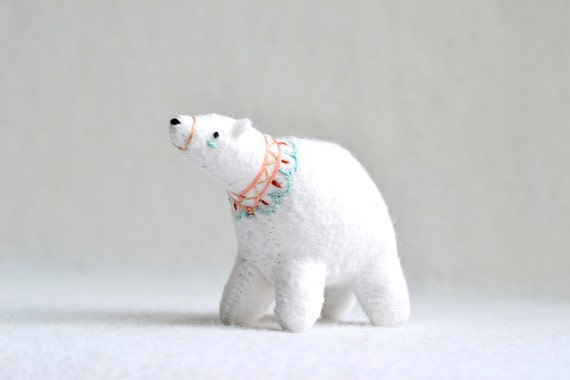 snow princess spirit bear - soft sculpture animal by mountroyalmint