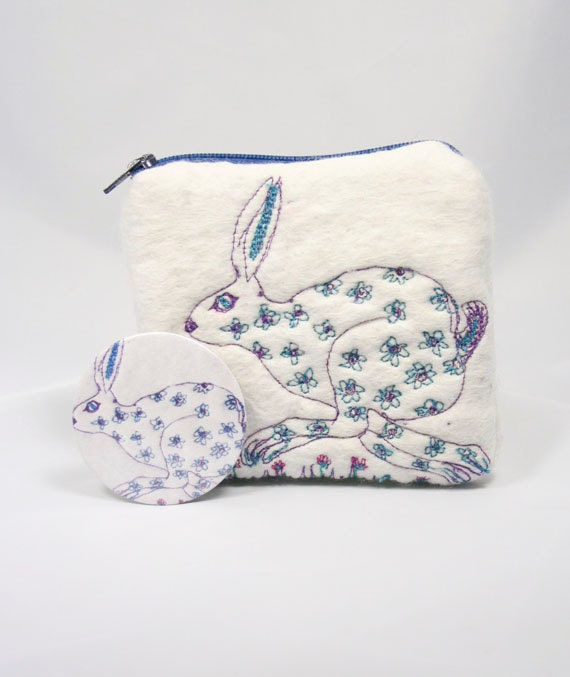 Wet Felted Coin Purse Wallet  Embroidered Running Hare & Mirror