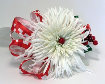 Large  Red and White Corsage Christmas