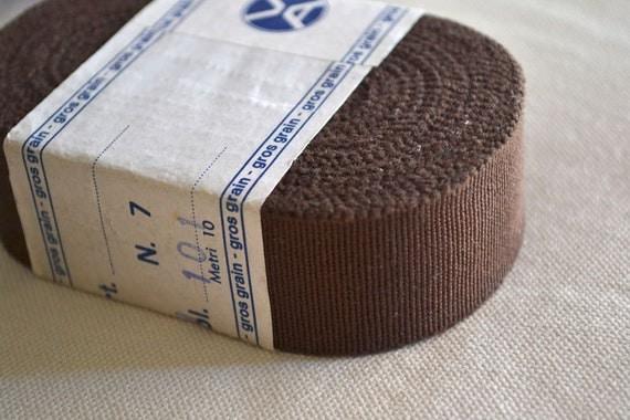Vintage brown grosgrain ribbon, 10 meters