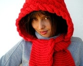 Little Red Riding Hood Hat  soft Hat  Hand Knit Cabled Hat Hood NEW COLECTION