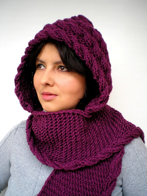 Cabled Marion Purple color Hood Scarf soft mixed Wool Hooded Scarf Hand Knit Chunky Cabled Scarf Hood NEW COLECTION
