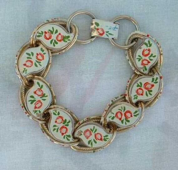 PSL Signed Vintage Hand Painted Enamel Bracelet Floral Jewelry