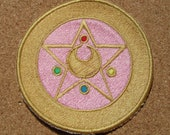Sailor of the Moon Anime transformation brooch Version 2 Iron on OR Sew on machine embroidered patch
