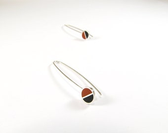 Sterling Silver Earrings, Divided Circles, Black and Maroon, Modern, Contemporary, Minimal