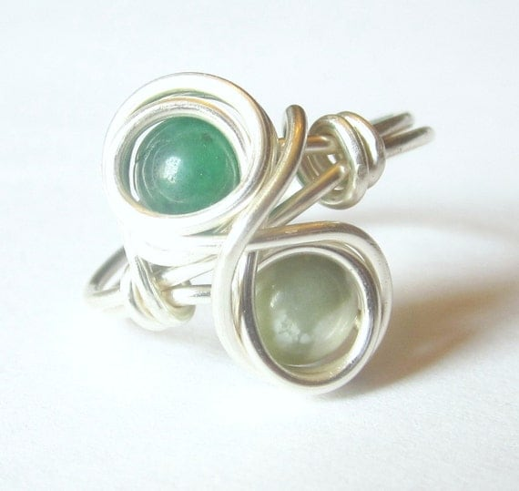 Infinity Ring Size 8, Green Quartz and Peace Jasper Wire Wrapped Silver Jewelry