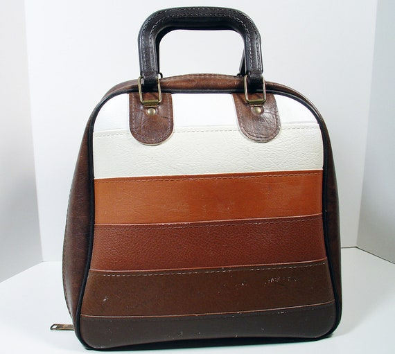 Vintage Bowling Bag - Brown and White