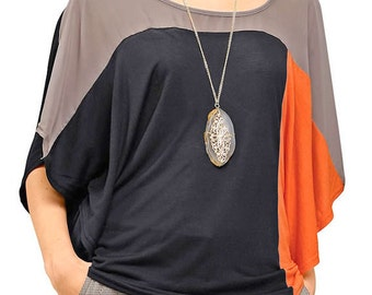 three-colored tunic. The Dolman sleeves. summer tunic