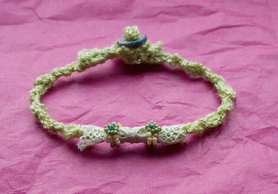 RESERVED FOR BRIAN  Green Knitted Bracelet with Lace Bead