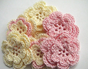 Crochet Flower Appliques - 6 Three Layer Thread Flowers