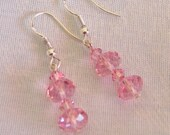 PINK SWAROVSKI CRYSTAL Earrings with Sterling Silver - New Years Eve party dangle sparkling ear jewelry