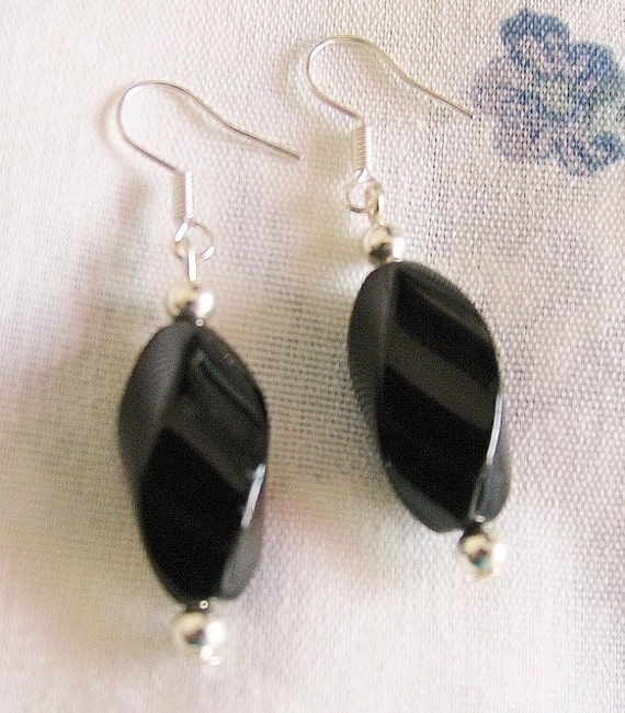 Twisted BLACK ONYX and Sterling Silver Earrings - Wear with anything accessory