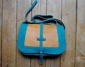 "blue and orange leather handbag ""Paulette"""