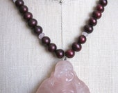 Large Rose Quartz Buddha Necklace with Burgundy Pearls, Rose Quartz and Sterling Silver