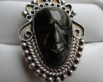 SALE Sterling obesidian carved mask  ring