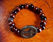 Peace Sign Bracelet with Jasper and Wood Beads and Howlite Peace Sign - FREE SHIPPING