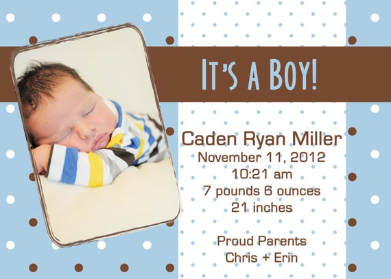 birth announcement template, custom baby boy announcement, print your own, 5 x 7