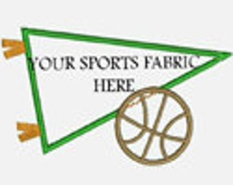 Basketball Pennant..Great for Sports Fabric..Embroidery Applique Design..Three sizes for multiple hoops..item1216..INSTANT DOWNLOAD