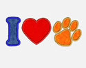 I Heart Paws...Embroidery Applique Design...Three sizes for multiple hoops...item1233...INSTANT DOWNLOAD