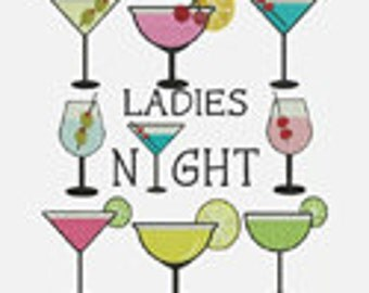 Ladies Night - 9 Stitched Machine Embroidery Designs -  Design sizes Listed -  item1211...INSTANT DOWNLOAD
