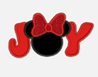 Joy Mouse Ears...Embroidery Applique Design...Two sizes for multiple hoops...Item1330...INSTANT DOWNLOAD