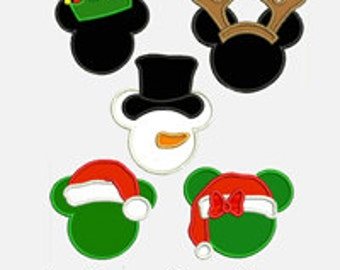Christmas Mouse Ears.....Five Designs each in Two sizes for multiple hoops...Item1326...INSTANT DOWNLOAD