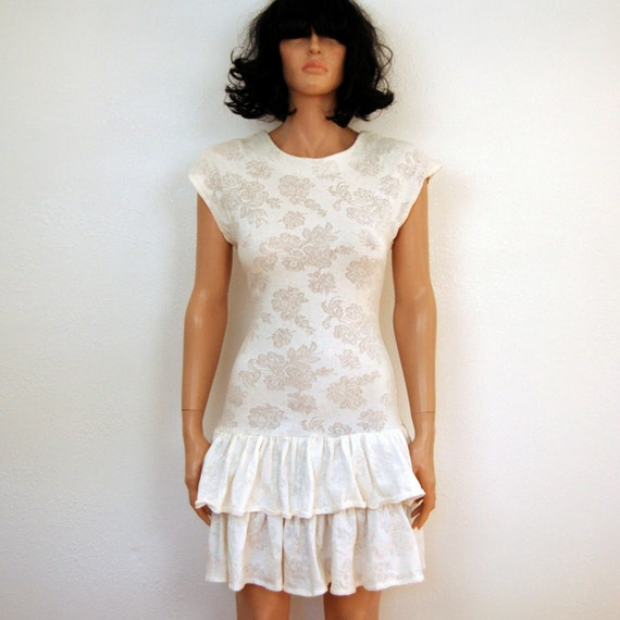 80s Vintage Dress - White Body con Cut Out Jersey Lace Ruffled Mini Dress S