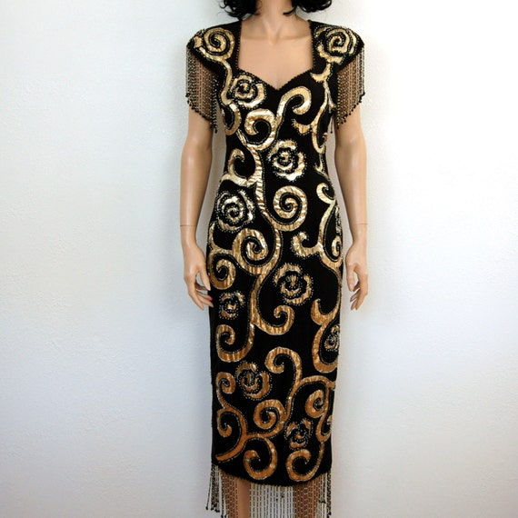 SALE //// 90s Vintage Dress - Silk Lame Beaded Tassle Maxi Cocktail Dress S