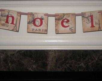 Vintage Paris Noel Christmas Banner Garland ECS